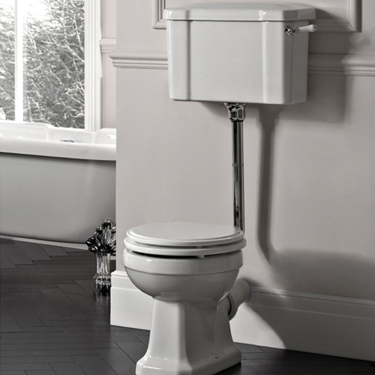 Tavistock Vitoria Low Level Toilet - White Gloss Seat