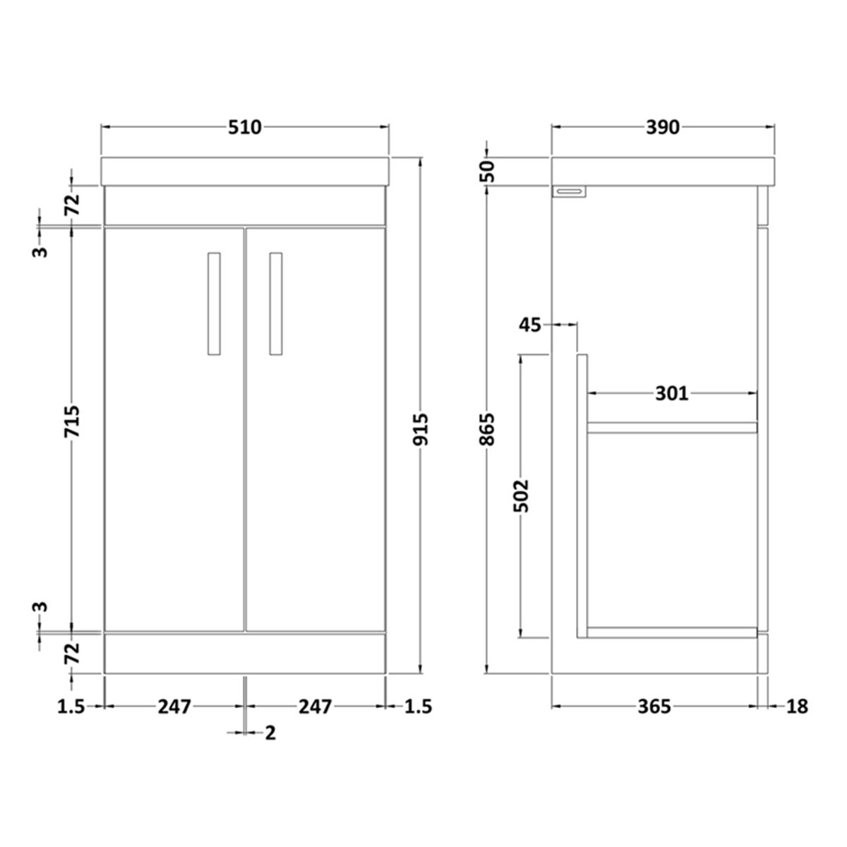 Nuie Athena Gloss Grey 2 Door Floor Standing Unit  500mm with Thin Edge Basin
