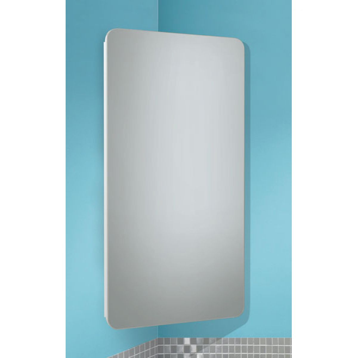HiB Turin White Corner Mirrored Cabinet