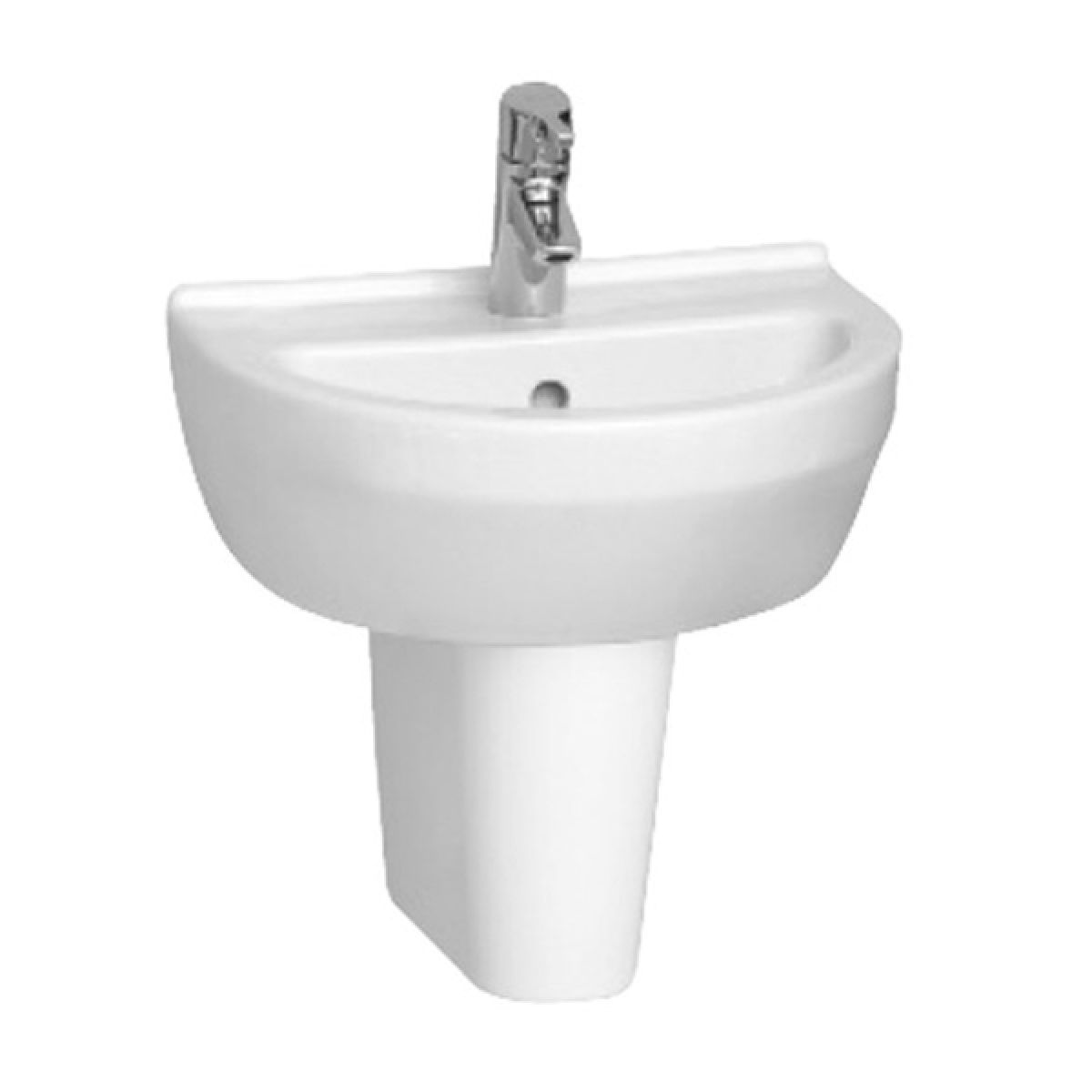 Vitra S50 1 Tap Hole Round Basin with Semi Pedestal 500mm