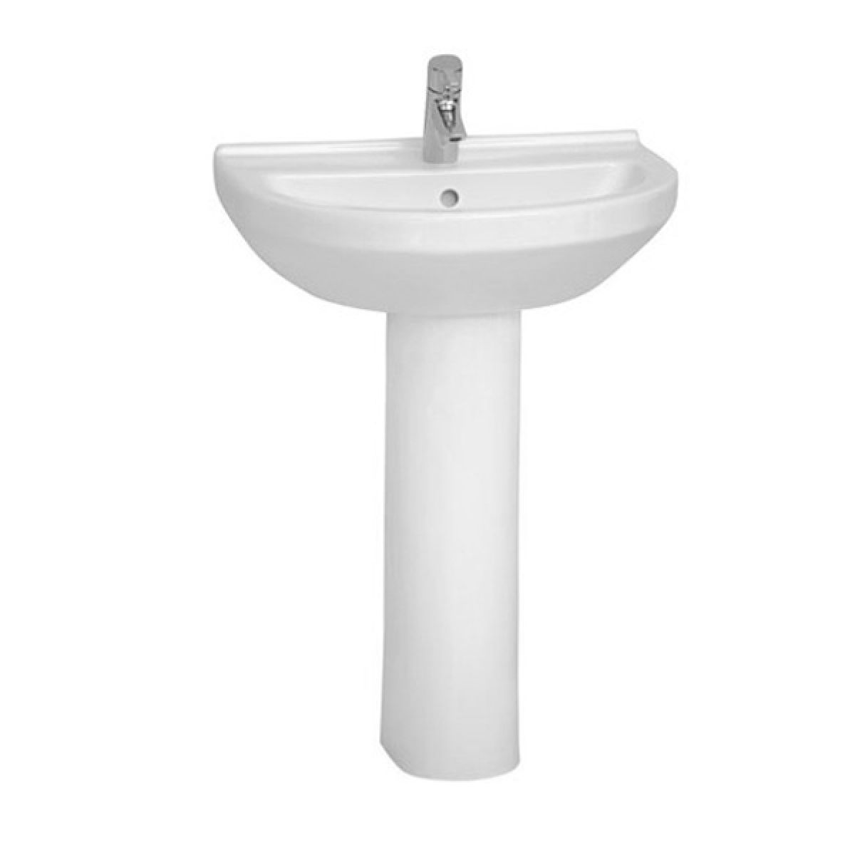 Vitra S50 1 Tap Hole Round Basin with Full Pedestal 600mm