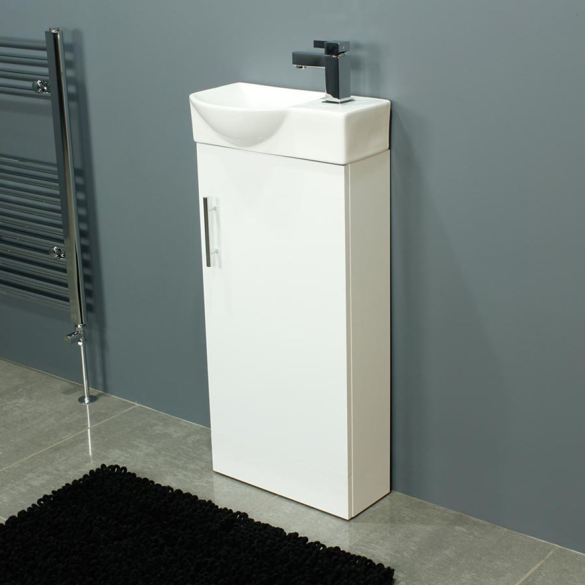 Cassellie 400 Series Mini Gloss White Single Door Vanity Unit