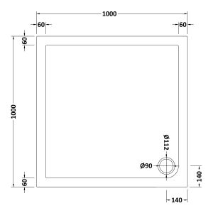 1000 x 1000 Shower Tray Square Low Profile by Pearlstone Dimensions