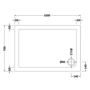 1000 x 700 Shower Tray Rectangular Low Profile by Pearlstone Dimensions