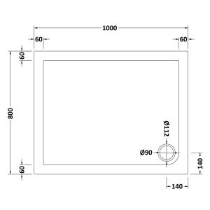 1000 x 800 Shower Tray Rectangular Low Profile by Pearlstone Dimensions
