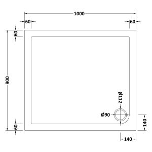 1000 x 900 Shower Tray Rectangular Low Profile by Pearlstone Dimensions