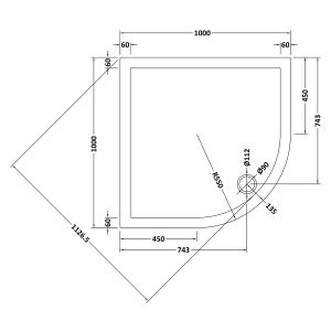 1000 x 1000 Shower Tray Quadrant Low Profile by Pearlstone Line Drawing