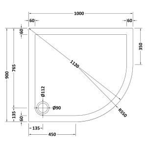 1000 x 900 Shower Tray Slate Grey Offset Quadrant Low Profile Right Hand by Pearlstone Line Drawing