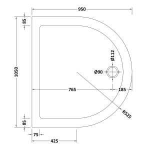1050 Shower Tray D Shaped Low Profile by Pearlstone Line Drawing