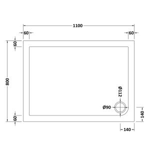 1100 x 800 Shower Tray Rectangular Low Profile by Pearlstone Dimensions