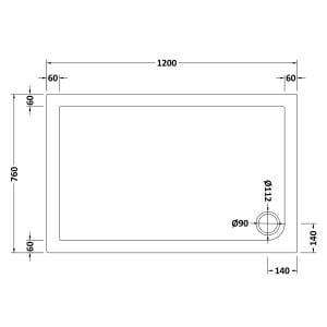 1200 x 760 Shower Tray Slate Grey Rectangular Low Profile by Pearlstone Dimensions