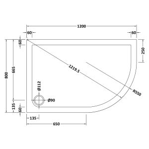 1200 x 800 Shower Tray Offset Quadrant Low Profile Right Hand by Pearlstone Line Drawing