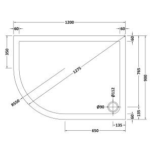 1200 x 900 Shower Tray Offset Quadrant Low Profile Left Hand by Pearlstone Line Drawing