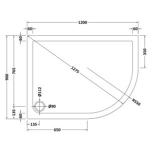 1200 x 900 Shower Tray Slate Grey Offset Quadrant Low Profile Right Hand by Pearlstone Line Drawing