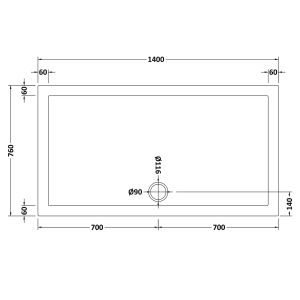 1400 x 760 Shower Tray Rectangular Low Profile by Pearlstone Dimensions