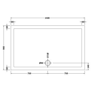 1500 x 900 Shower Tray Rectangular Low Profile by Pearlstone Dimensions