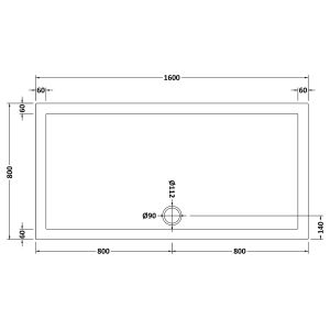 1600 x 800 Shower Tray Slate Grey Rectangular Low Profile by Pearlstone Dimensions