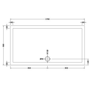 1700 x 900 Shower Tray Slate Grey Rectangular Low Profile by Pearlstone Dimensions