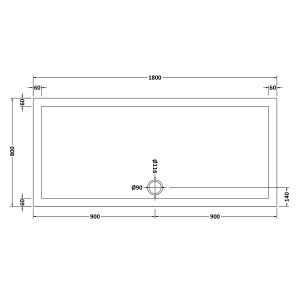 1800 x 800 Shower Tray Rectangular Low Profile by Pearlstone Dimensions