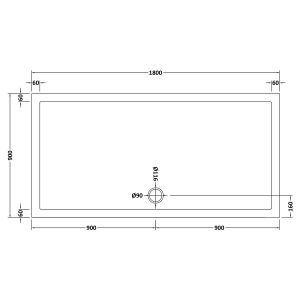 1800 x 900 Shower Tray Slate Grey Rectangular Low Profile by Pearlstone Line Drawing