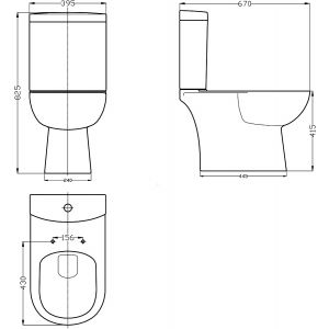 Nuie Lawton Close Coupled Toilet with Soft Close Seat Drawing