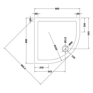 800 x 800 Shower Tray Quadrant Low Profile by Pearlstone Line Drawing