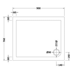900 x 760 Shower Tray Slate Grey Rectangular Low Profile by Pearlstone Dimensions