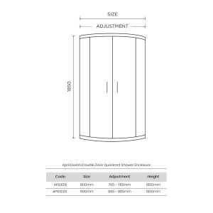 April Destini Double Door Quadrant Shower Enclosure Dimensions