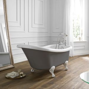 April Eldwick Dove Grey Freestanding Slipper Bath