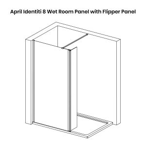 April Identiti 8 Black Wet Room Shower Enclosure with Flipper Panel