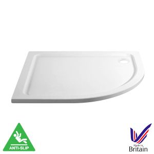 April Offset Quadrant Anti Slip Shower Tray 1200 x 800 Right Hand