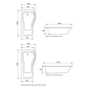 April P Shape Shower Bath with Optional Front Panel and Bath Screen Dimensions