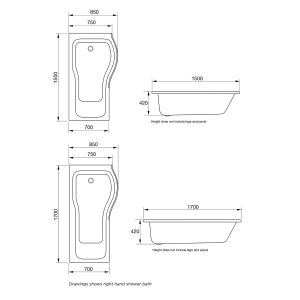 April P Shape Reinforced Shower Bath Dimensions
