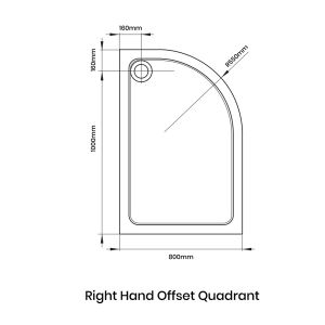 Aquadart Offset Quadrant 1000 x 800 Shower Tray Right Handed Line Drawing