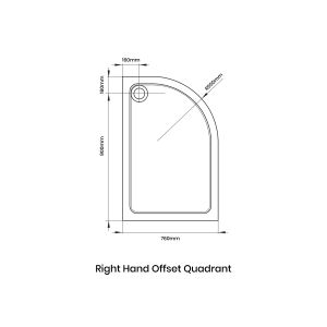 Aquadart Offset Quadrant 900 x 760 Shower Tray Right Handed Line Drawing