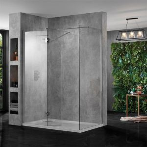 Aquadart Wet Room 10 Polished Silver Wetroom Shower Enclosure with Optional Side Panel