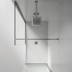 Overhead view example of a slate shower tray installed