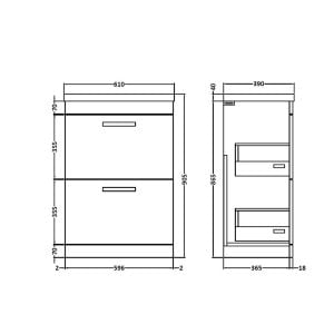 Nuie Athena Gloss Grey 2 Drawer Floor Standing Unit 600mm with Mid-Edge Basin Dimension