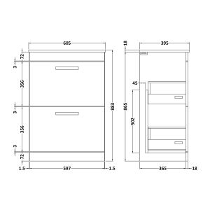 Nuie Athena Gloss Grey 2 Drawer Floor Standing Unit 600mm with Minimalist Basin Dimension