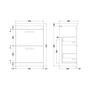 Nuie Athena Gloss Grey 2 Drawer Floor Standing Unit 600mm with Thin-Edge Basin Dimension
