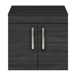 Nuie Athena Hacienda Black 2 Door Wall Hung Unit 600mm with Worktop