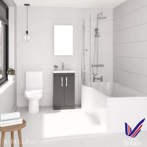 Athena Gloss Grey 500 P-Shaped Left Handed Bath Suite