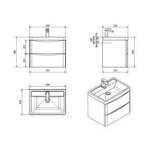 Bali Concrete Grey Wall Mounted Vanity Unit 600mm Dimensions