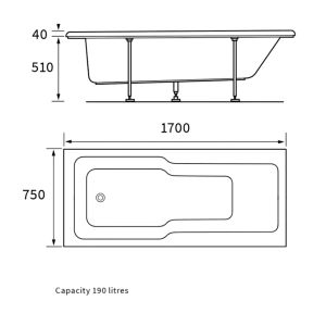 Bathrooms To Love Rectangular Single Ended Bath 1700mm x 750mm Line Drawing