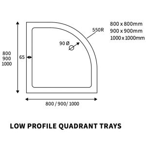 Bathrooms To Love Reflex Quadrant Low Profile Shower Tray with Waste 900mm x 900mm Line Drawing