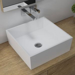 Bathrooms To Love Sabina White Square Polymarble Countertop Basin 426mm 1