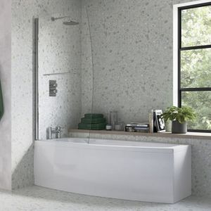 Bathrooms To Love Spacesaver White Offset Bath with Front Panel and Screen Left Handed 1