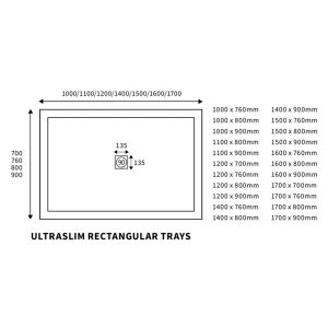 Bathrooms To Love White Rectangular Ultraslim Shower Tray with Waste 1400mm x 760mm Line Drawing