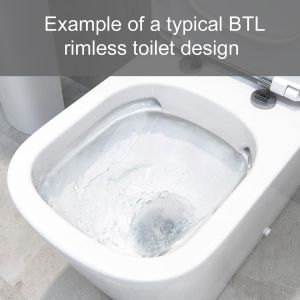 Example of a typical Bathrooms to Love rimless toilet design