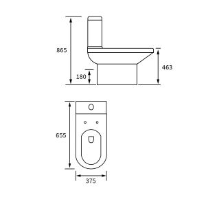 BTL White Laurus² Fully Comfort Height Coupled Toilet Line Drawing